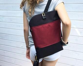 Burgundy Black College Backpack, Convertible Bag, Canvas Grunde Backpack, Zipper School bag, Unique Gift for Men Women, Birthday Present