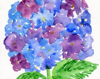 Purple, Blue Hydrangeas watercolor painting original 5 x 7 flower painting watercolor art, small watercolor flower art, hydrangea decor