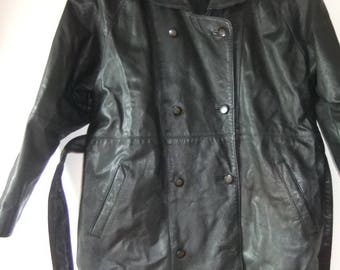 1980s shoulder pad trench style black leather jacket sz 18