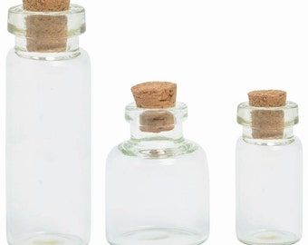 Tiny Corked Bottles in 3 Sizes for Mixed Media Art Projects