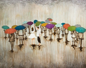 Couple Dance In The Rain CANVAS G'CLEE, titled Dance With Me in the Rain, Umbrella Art Print