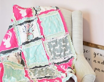 Bohemian Dreamcatcher and Deer Applique Rag Quilt for Baby Girl - Mint | Pink | Gray
