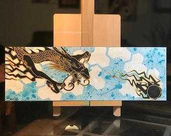 8x24 Black Dragon Chasing the Pearl