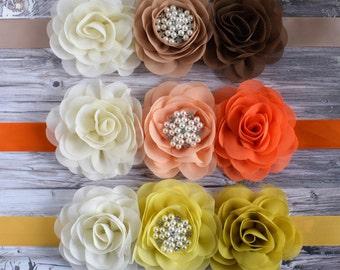 Coral Maternity Sash, Orange Belly Sash, Tan Maternity Sash, Brown Flower Sash, Beige Flower Sash, Yellow Flower Sash, Custom Boutique Sash
