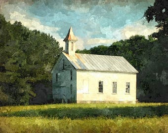 Fine Art Print of Old Primitive Baptist Church near Washington NC in Watercolor Rendering