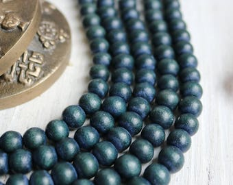 wood beads, 10mm beads, round beads, earthy blue beads, earthy beads, boho beads, large beads,