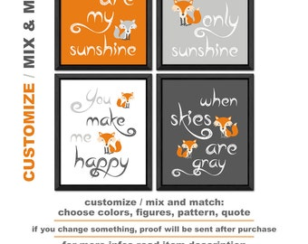 fox baby decor, you are my sunshine nursery, woodland nursery art, fox nursery decor, nursery wall sayings fox, woodland kids room fox
