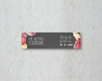 Floral Chalkboard Wedding Straw/Cupcake Flag