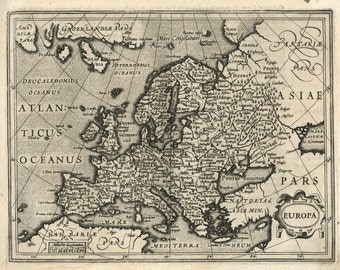 Old Map of Renaissance Europe, 17th Century Map, Fine Art Reproduction MP030
