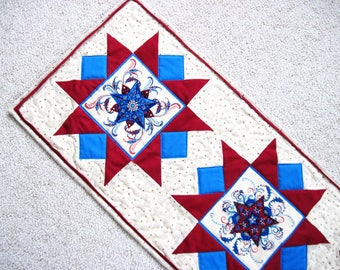Quilted  table runner  patriotic  red white blue  Stars Quiltsy handmade