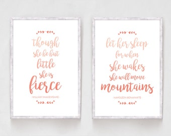 Set of 2 Prints Inspirational Quote Prints, Shakespeare Print, Let Her Sleep, Though She Be Little She Is Fierce, Nursery Wall Art, Pink