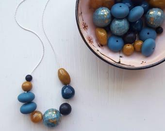 global citizen - necklace - vintage remixed beads - aqua, teal blue, amber yellow, ochre, black - autumn, earthtones