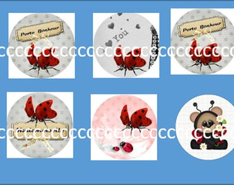 10 glass cabochons 25 mm Ladybug theme
