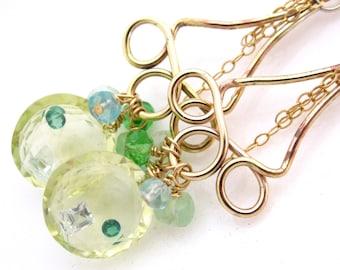 Lemon Candy Earrings - Lemon quartz with shaker gems, apatite, quartz, and gold fill