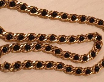 Vintage Napier Gold Tone with Black Bead Necklace - 24 inches