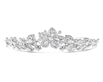 Floral Design Bridal Crystal Tiara #129557