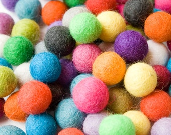 2cm Wool Felt Balls up to 40 pcs - Your Choice of Colors