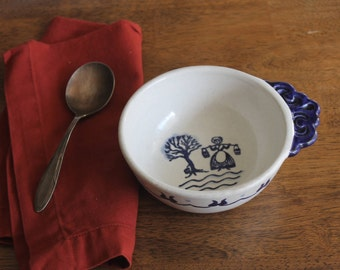 Hand Painted Provincial Blue Bowl