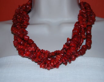Red Coral Statement Necklace and Earrings Set - Red Statement Necklace Chunky Beaded Necklace Bold