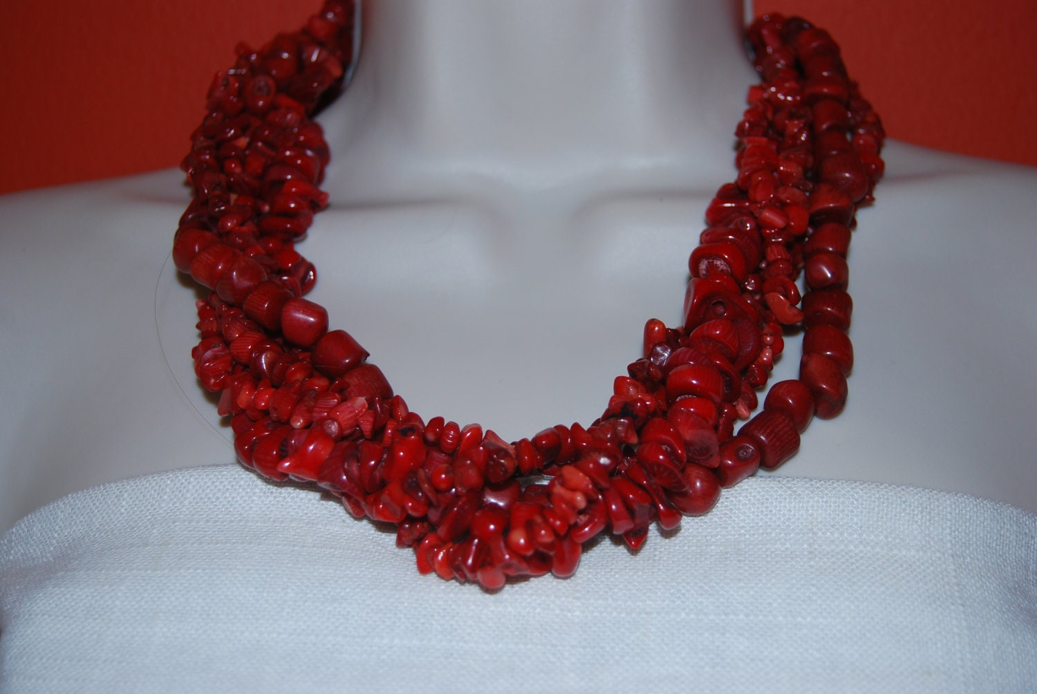 Red Coral Statement Necklace and Earrings Set Red Statement