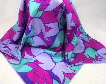 A Beautiful Vintage Richard Allan Silk Scarf. Green, Lilac, Purple, Pink -  29 x 28 Inches