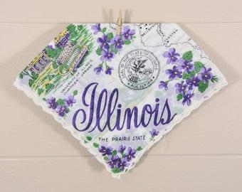 Illinois Vintage Hankie / Illinois Souvenir Hanky / Purple Illinois State Hankie