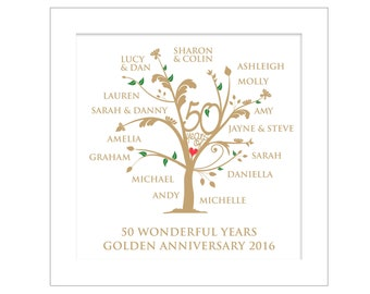 Personalised Golden Anniversary Family Tree Digital File