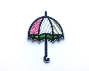 Embroidered Patches - Iron on Patch - Umbrella Patch - Embroidered Patch - Cute Patch - Rain Patch - Weather Patches - Parasol Patch