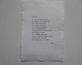 Borders-Poem typed on nicely recycled cotton paper