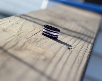 Peyote Stitch Ring | Chunky Beaded Ring | Purple and Black Striped Ring | Peyote Ring