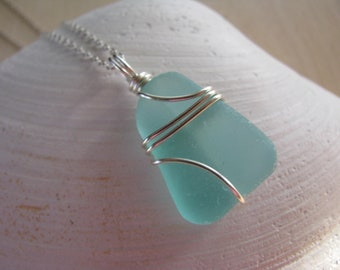 Pretty Teal Sea Glass Jewelry Aqua Blue Sea Glass Pendant Silver Beach Glass Necklace Natural Beachglass Jewelry Beach Jewelry Mermaid