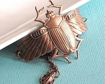 Copper Scarab Beetle Cuff Bracelet