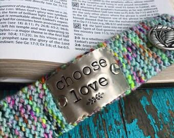 Choose Love Cuff Bracelet, Custom Hand Stamped Green Cuff Bracelet, Christian Bracelet for Women