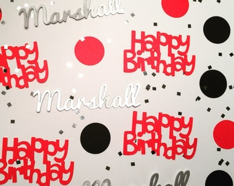 Happy Birthday Personalized Confetti - Custom Confetti - Any Name with Circles and Silver or Gold Glitter Squares