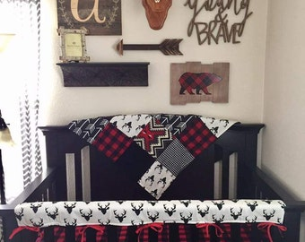 Baby Boy Crib Bedding - Buck Deer, Black Arrows, Lodge Red Black Buffalo Check, Aztec, and Black Crib Bedding Ensemble