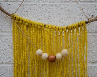 Yellow Yarn Wall Hanging, Boho Wall Art, Macrame Wall Hanging, Bohemian Wall hanging Tapestry