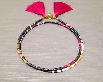 boho chic bracelet tassel bracelet bohemian bracelet gypsy bracelet peyote bracelet friendship bracelet bead bohemian jewelry boho jewelry