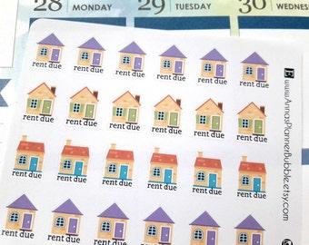 Rent due stickers, planner stickers, functional planner stickers, bill stickers, reminder for Erin Condren, Happy Planner, Filofax, Kikki K