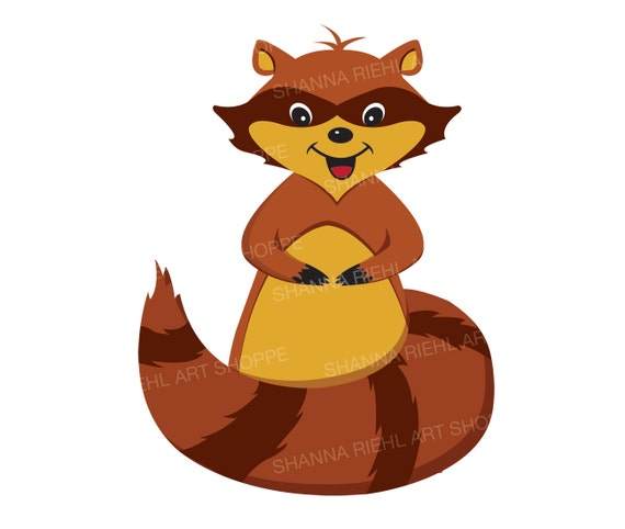 raccoon baby animal clipart commercial use woodland printables rh etsystudio com