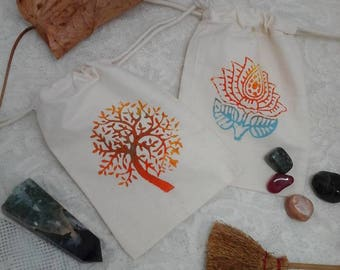 rune pouch, block printed pouch, rune bag, gem stone pouch, rune stone pouch, crystal pouch, lotus bag, herb pouch, draw string pouch, pagan