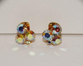 Vintage Aurora Burealis Iridescent Stones Small Earrings.