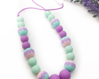 Kid Sensory Necklace - KIDS Teething Necklace - Non Toxic Jewelry - Kids Jewelry - Easter Necklaces - Toddler Necklace - Sensory  Chewlery