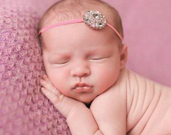 Infant headband, pink, gray, baby elastic headband, baby headband, newborn headband, headband, newborn headband, baby girl, newborn girl