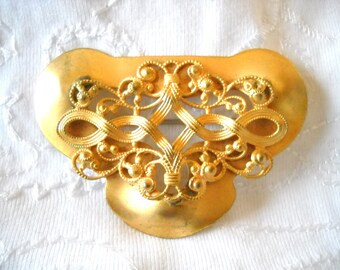 Brooch Antique Victorian Sash Pin Large Statement Brooch Ribbons Motif Gilt Metal C Clasp Art Nouveau Fancy Scroll