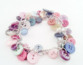 Colorful 40 Button Bracelet, Random Buttons on a Silver Chain, Red, Blue, Green, Pink, Purple