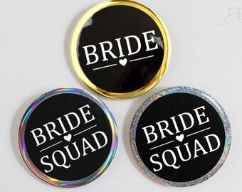Glitter Gold Bridal Shower Pinback Button Bridesmaid - Bride Squad - Bride