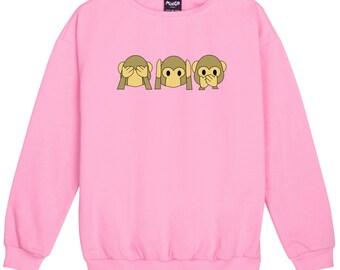 Emoji Sweater Jumper Womens Ladies Fun Tumblr Hipster Swag Fashion Grunge Retro Top Kawaii Goth Cute Monkey Emotions Punk Girls Boho Pink