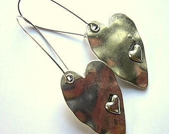 Boho Silver Heart Earrings Silver Plated Long Dangle Bohemian Jewellery Nickel And Lead Free For Sensitive Skin