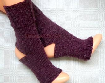 Cherry Red Hand Knitted Yoga Socks Dance Socks Knit Socks Flip Flop Socks Summer Socks Pilates Socks Pedicure Socks Feet Warmers Leg warmers