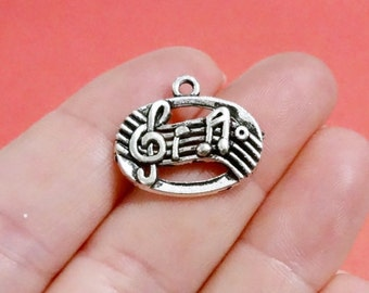 10, Music Notes, Charms 18x21x3mm, Hole: 2mm